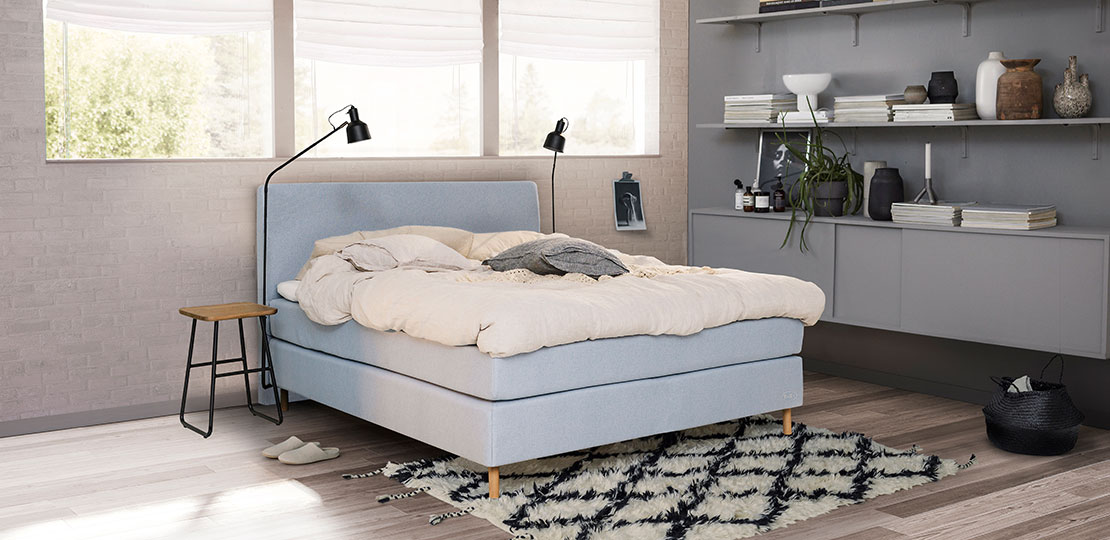 Jensen Boxspringbett Kontinental Seamless Lightblue bei Pfiff Möbel